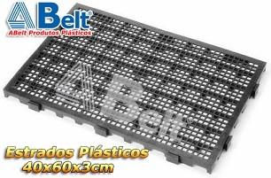 Estrado Plástico 60 x 40 x 3 cm na cor preta