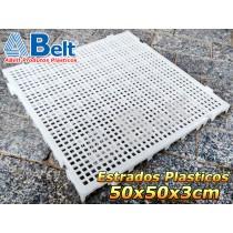 Estrado Plástico 50 x 50 x 3 cm na cor natural