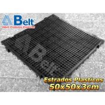 Estrados Plásticos 50 x 50 x 3 cm na cor preta