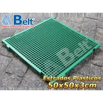 Estrado Plástico 50 x 50 x 3 cm na cor verde