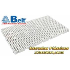 Estrado Plástico 60 x 100 x 4,5 cm na cor branca