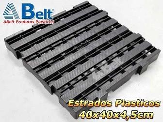 Estrado Plástico 40x40x4,5cm na cor preta