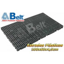 Estrado Plástico 60x100x4,5cm na cor preta