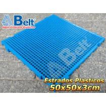 Estrado Plástico 50 x 50 x 3 cm na cor azul