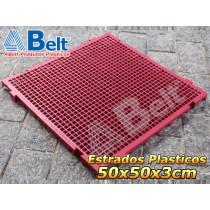 Estrado Plástico 50 x 50 x 3 cm na cor vermelha