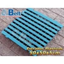 Estrado Plástico 50 x 50 x 5 cm na cor azul