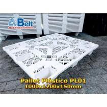 Pallet plástico PL01 vazado 1200 x 1000 x 150 mm branco