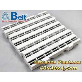 Estrado Plástico 40 x 40 x 4,5 cm na cor branca