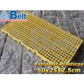 Estrado Plástico 50 x 25 x 2,5 cm na cor amarela
