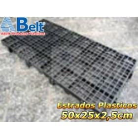 Estrado Plástico 50 x 25 x 2,5 cm na cor preta